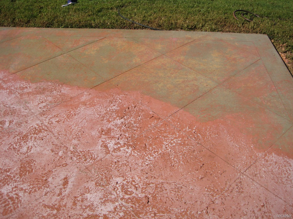 Concrete patio paint before and after for Removing concrete walkway