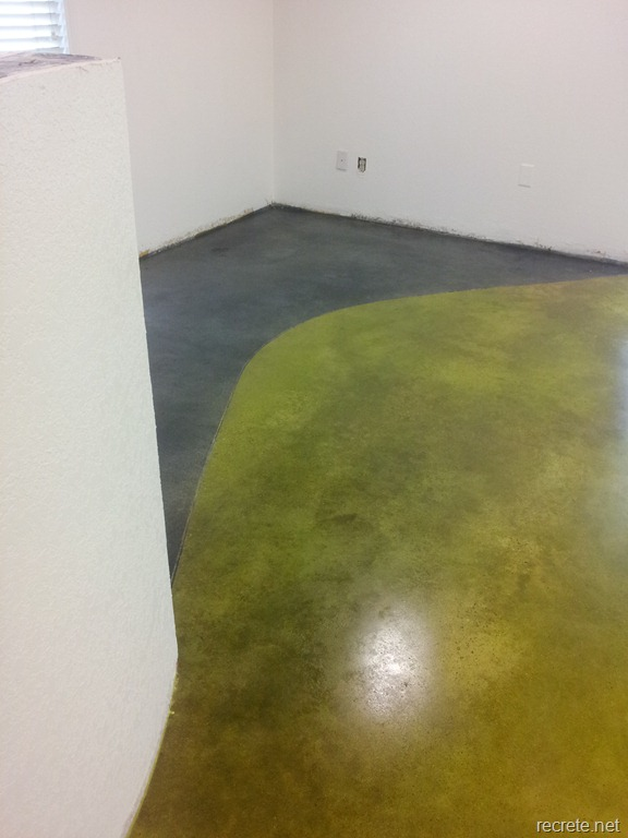 Concrete Stain With Lime Green Dye And Black Dye