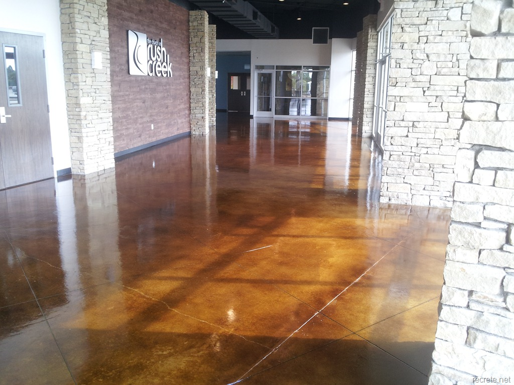 Stained Concrete Floor With Warm Walnut