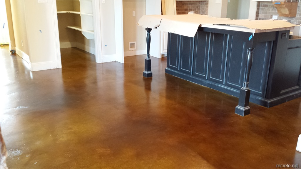 Residential Stained Concrete Floors: Stained Kitchen Floor In Warm Walnut Dye