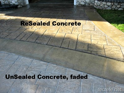 Before and After ReSealed Stamped Concrete Driveway