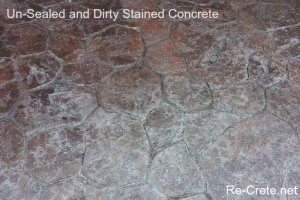 Un-Sealed Stained and Stamped Concrete