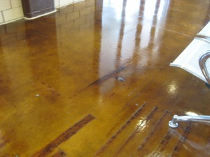 Concrete stain over very old floor